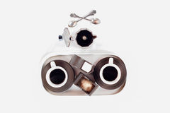 Espresso coffe sets. With two cups,coffe pot, teaspoons,brown sugar,soia milk Stock Image