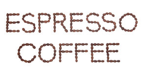 Espresso Coffee. Sign in word and letter form over white background Stock Images