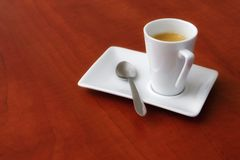 Espresso coffee. Beautiful design coffee, with classic wood table stock photo