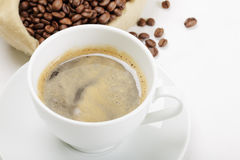 Espresso and coffee bag Stock Photography