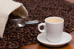 Espresso and Coffee Beans Royalty Free Stock Photos