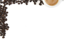 Espresso With Coffee Beans Frame Royalty Free Stock Photo