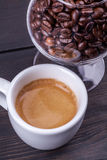 Espresso and coffee beans Stock Photo