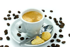 Espresso and coffee beans on the white background Stock Images