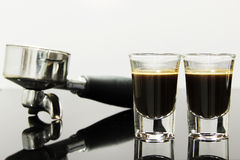 Espresso with coffee brewing device Royalty Free Stock Photos