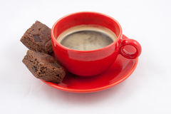 Espresso Coffee and Brownies Stock Photo
