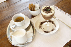 Espresso coffee and chocolate mousse desert Stock Image