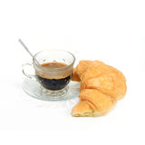 Espresso coffee in classic cup  with croissant isolate on white Royalty Free Stock Photos