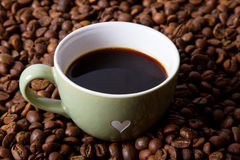 Espresso. Coffee and coffee bean Stock Photography
