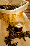 Espresso coffee with coffee beans Royalty Free Stock Image