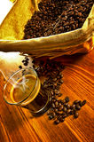 Espresso coffee with coffee beans Royalty Free Stock Photography