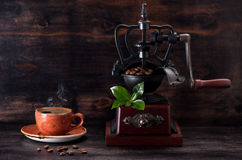 Espresso coffee and coffee grinder Stock Image