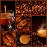 Espresso coffee collage stock photos