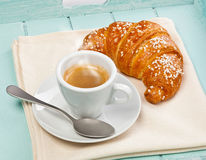Espresso coffee with croissant Royalty Free Stock Photos