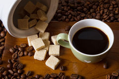 Espresso. Coffee and cube sugar Royalty Free Stock Image