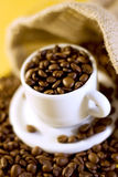 Espresso coffee cup with beans Royalty Free Stock Image