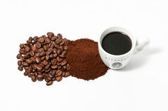 Espresso coffee cup beans and powder. Espresso cup, coffee beans and coffee powder on white background. View from above Stock Image