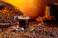 Espresso coffee cup with brown sugar and cinnamon sticks royalty free stock image
