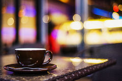 Espresso coffee cup in cafe at night Stock Images