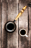 Espresso Coffee cup and Coffee pot over wood table top view. Ins Royalty Free Stock Photography