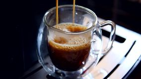 Espresso coffee in the cup stock footage