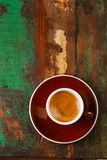 Espresso coffee cup on rustic table Royalty Free Stock Photography