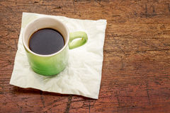 Espresso coffee cup on rustic wood Stock Image