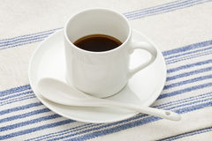 Espresso coffee cup with spoon Royalty Free Stock Photography