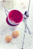 Espresso coffee cups, italian mocha and small biscuits, morning Stock Image