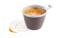 Espresso coffee in a disposable cup on white. Background Royalty Free Stock Images