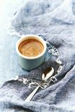 Espresso coffee in an enameled mug. Copy space Royalty Free Stock Photography