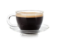Espresso coffee in glass cup Royalty Free Stock Image