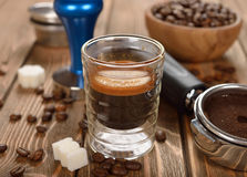 Espresso coffee in a glass cup Stock Images