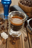 Espresso coffee in a glass cup Royalty Free Stock Photo