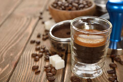 Espresso coffee in a glass cup Royalty Free Stock Images