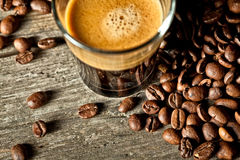 Espresso and coffee grain Stock Images