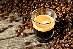 Espresso and coffee grain Royalty Free Stock Photography