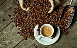 Espresso and coffee grain Royalty Free Stock Photos