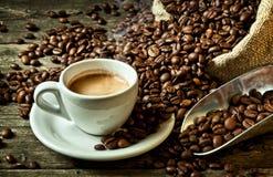 Espresso and coffee grain stock photography