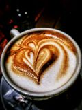 Espresso coffee with heart. Coffee with heart shape stock photos