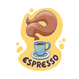 Espresso Coffee Illustration. EPS10 file with hand drawn vector object. Re-sizable to any size. Coffee drawing with smoke and catchy background. / Espresso Stock Photos
