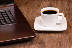Espresso coffee with laptop Stock Photo