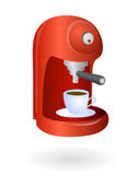 Espresso coffee machine. Home coffee machine isolated with coffee cup Royalty Free Stock Image