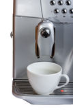 Espresso coffee machine. With empty white cup ready for coffee stock photos