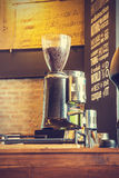 Espresso coffee machine with roasted coffee beansv, vintage  sty Stock Photography