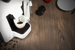 Espresso coffee made with capsules at home Royalty Free Stock Photography