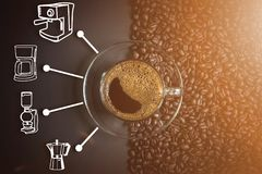 Espresso and coffee maker icon. Espresso in a glass on wooden table, black coffee and coffee maker icon, coffee cup Stock Image