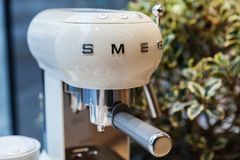 Espresso Coffee maker by Smeg, close-up Royalty Free Stock Photography