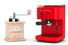 Espresso Coffee Making Machine with Wooden Coffee Mill Royalty Free Stock Image