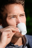 Espresso coffee - man drinking at cafe portrait Stock Image